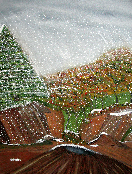 Snow Painting - The First Snow by Edwin Long