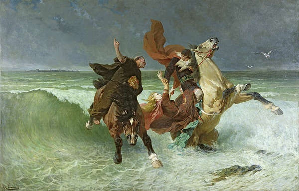 The Painting - The Flight Of Gradlon Mawr by Evariste Vital Luminais