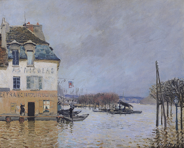 Sisley Painting - The Flood At Port Marly by Alfred Sisley