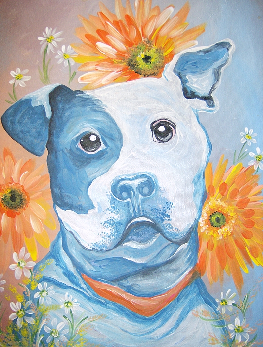 Dog Painting - The Flower Pitt by Leslie Manley