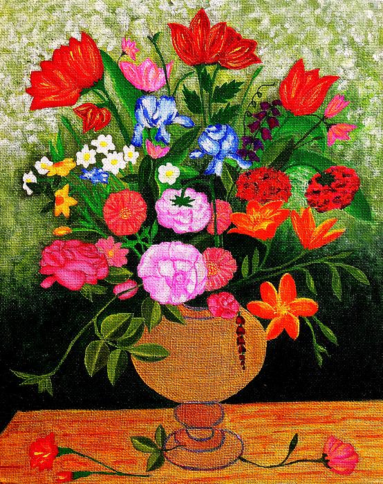 Flower Painting - The Flower Pot by Farah Faizal