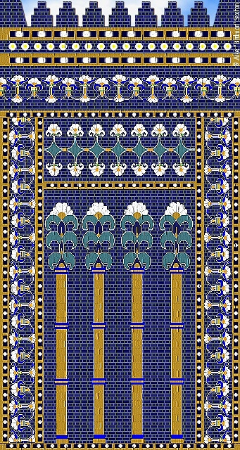 Ishtar Gate Painting - The Flower Wall Of Ishtar Gate by Mike Sexton
