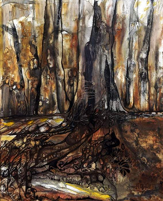 Forest Painting - The Forest Remembers by Anne-D Mejaki - Art About You productions