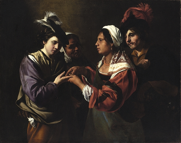 The Painting - The Fortune Teller by Bartolomeo Manfredi