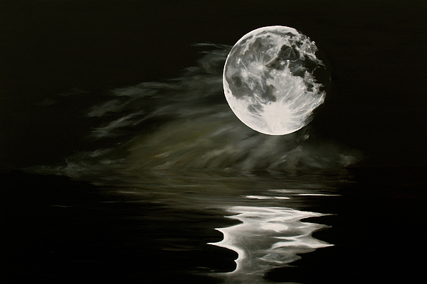 Moon Painting - The Fullest Moon by Elisabeth Dubois