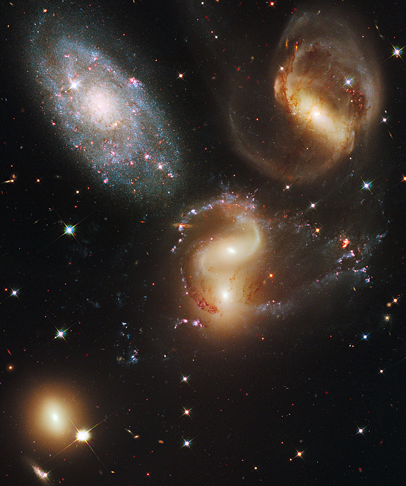 Outdoors Photograph - The Galaxies Of Stephans Quintet by Nasa/Esa