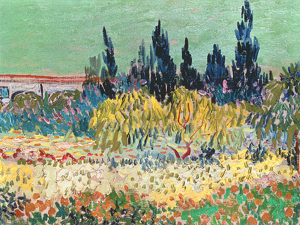 Garden In Bloom Painting - The Garden At Arles  by Vincent Van Gogh