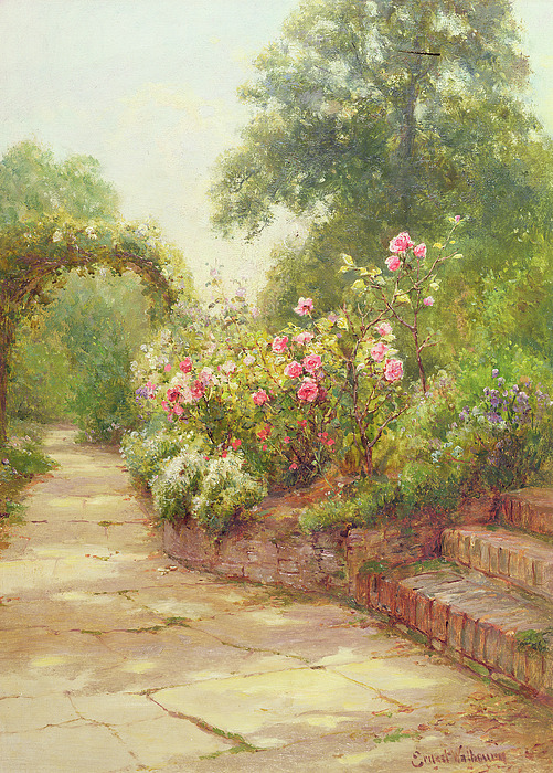 The Painting - The Garden Steps   by Ernest Walbourn