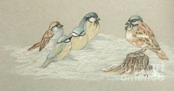 Birds Drawing - The Gathering by Ginny Youngblood