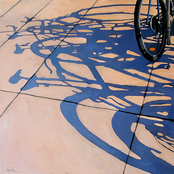 Bicycle Painting - The Gathering -painting by Linda Apple