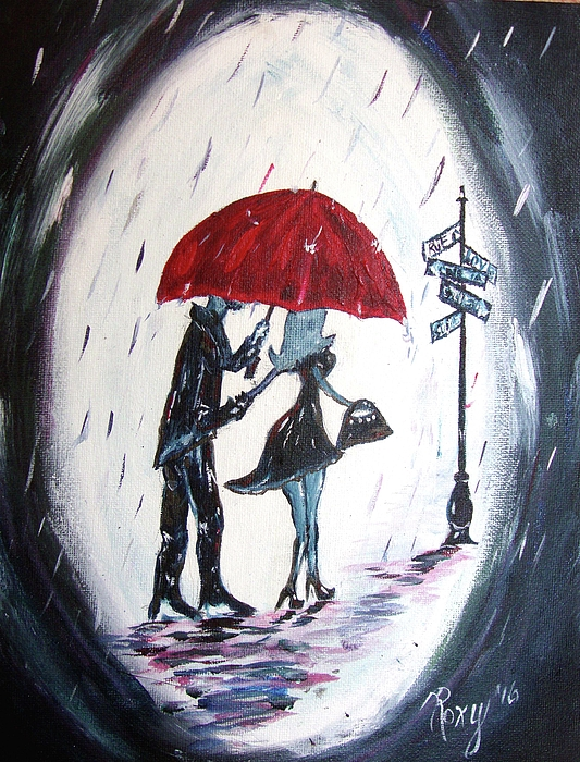 Red Umbrella Painting - The Gentleman by Roxy Rich