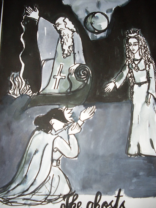 Illustration Drawing - The Ghosts by Elena Buftea