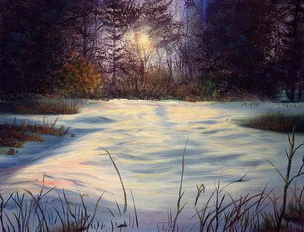 Landscape Painting - The Glow Of Winter by Tommy  Winn