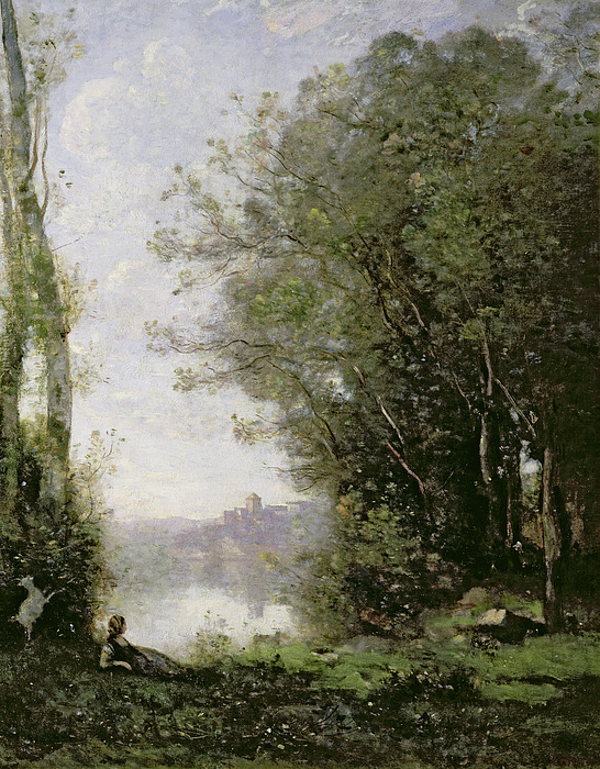 The Painting - The Goatherd Beside The Water  by Jean Baptiste Camille Corot