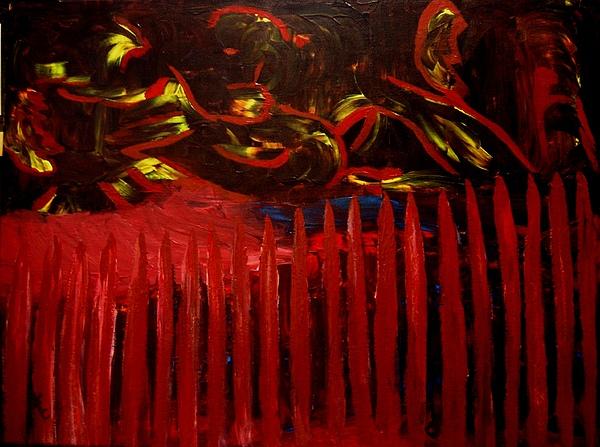 Barrier Painting - The Goblins Outside by Karen L Christophersen
