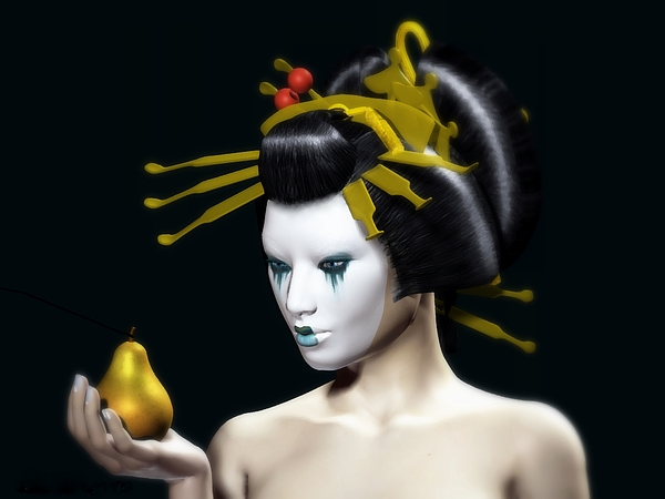 Golden Digital Art - The Golden Pear by Sandra Bauser Digital Art