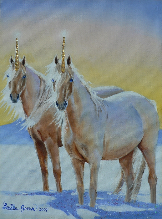 The Golden Unicorns Painting by Louise Green