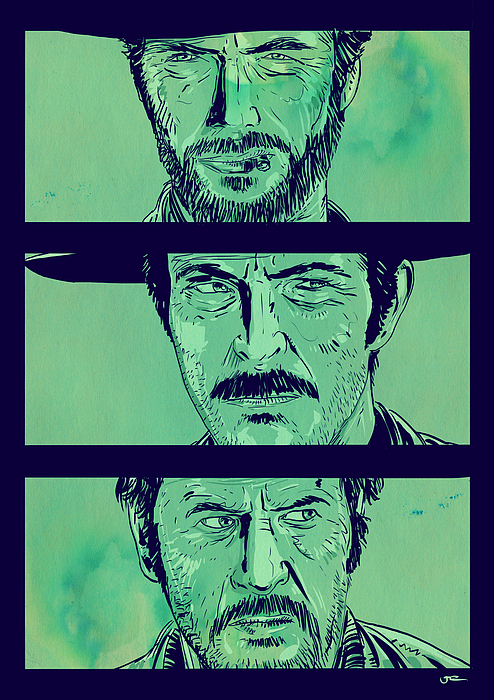 Spaghetti Western Drawing - The Good The Bad And The Ugly by Giuseppe Cristiano