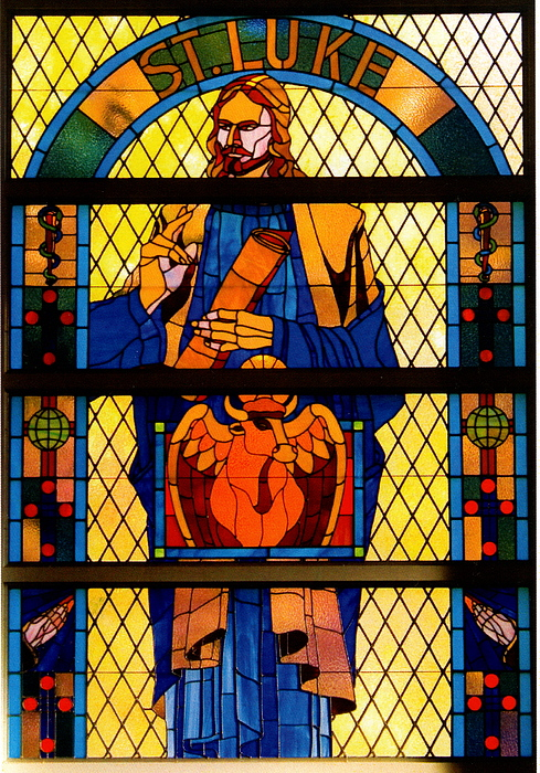 Stained Glass Glass Art - The Gospel Of St. Luke by Alan Carlson
