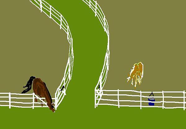 Horses Digital Art - The Grass Is Greener by Carole Boyd