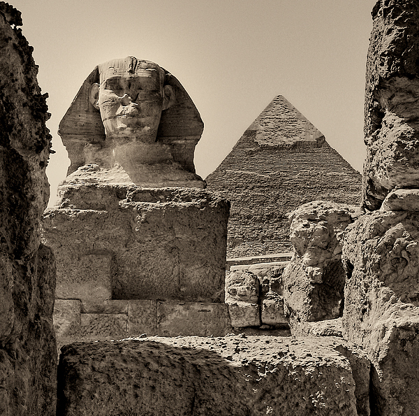 Great Sphinx Photograph - The Great Sphinx And Pyramid Of Khafre by Nigel Fletcher-Jones