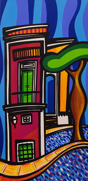 Puerto Rico Painting - The Green Door by Mary Tere Perez