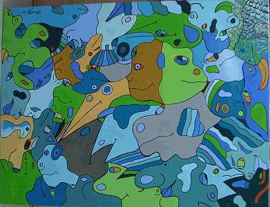 The Green Iquana Painting by Timothy