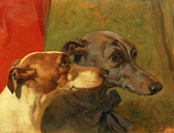 The Painting - The Greyhounds Charley And Jimmy In An Interior by John Frederick Herring Snr