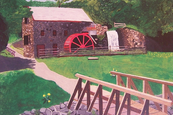 Gristmill Painting - The Gristmill At Wayside Inn by William Demboski