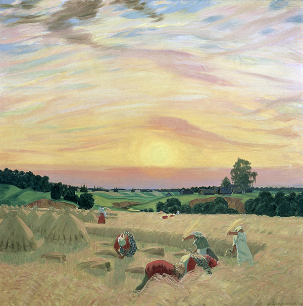 The Harvest Painting - The Harvest by Boris Mikhailovich Kustodiev