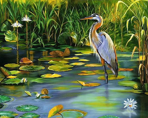 Wildlife Painting - The Heron by Beth Smith