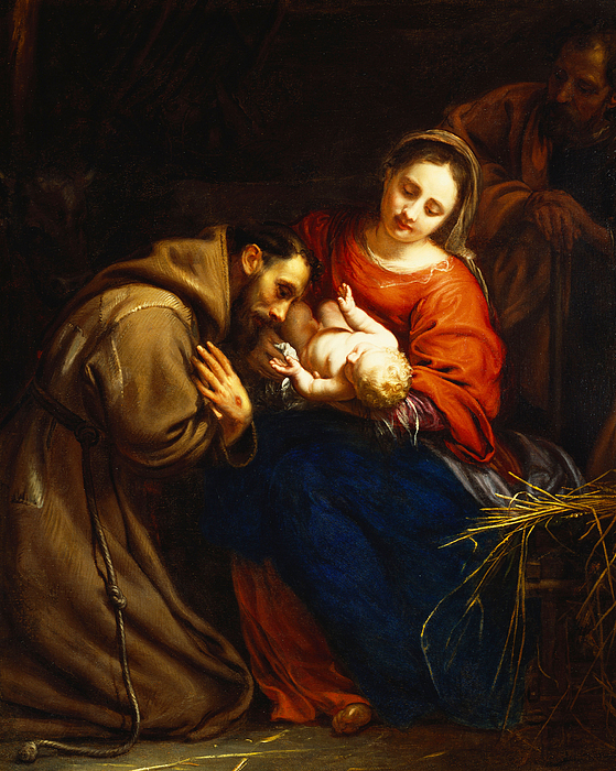 Holy Painting - The Holy Family With Saint Francis by Jacob van Oost