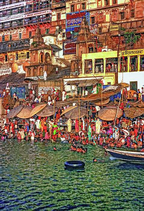 Varanasi Photograph - The Holy Ganges by Steve Harrington