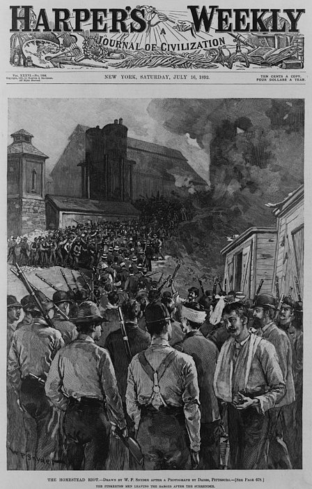 History Photograph - The Homestead Steel Strike Riot by Everett