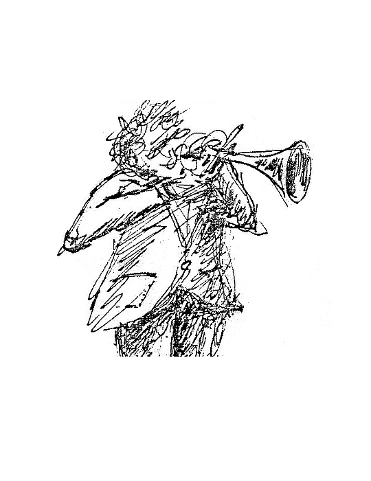 Musician Drawing - The Hornblower by Sam Chinkes