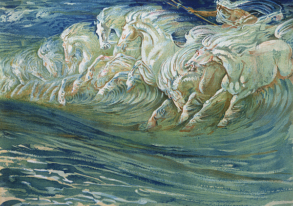 Waves Painting - The Horses Of Neptune by Walter Crane