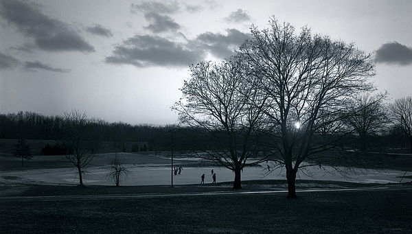 Holy Photograph - The Ice Skaters...kirby Park Pond Kingston Pa. by Arthur Miller