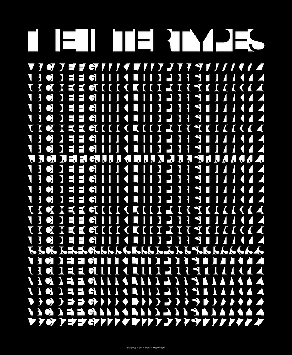 Helvetica Digital Art - The Intertypes - Spaces Between Letters  by Martin Krzywinski
