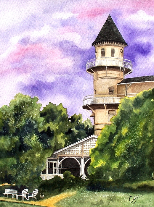 Lighthouse Painting - The Jekyll Island Club by Karen Casciani