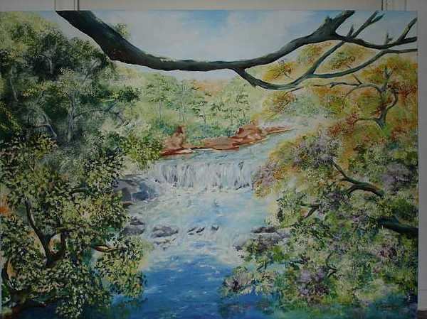 Cascade Painting - The Joyful River by Gloria Reyes Diaz