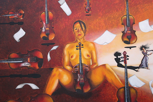 The Lady Dancing With Eight Violins In Eight Nights In A Row Painting by Jose Tello
