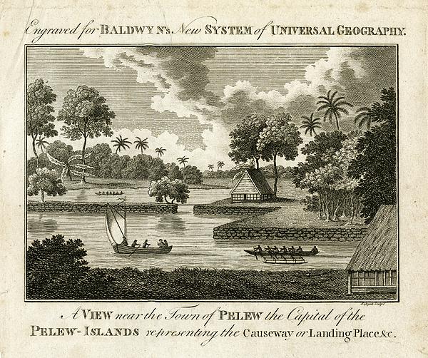 Palau Drawing - The Landing Place At Palau by ex Keats
