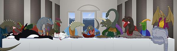 Last Supper Digital Art - The Last Supper Of Raptor Jesus by Greasy Moose
