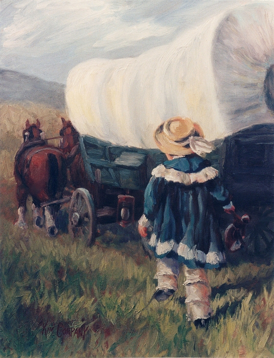Pioneer Painting - The Little Pioneer Western Art by Kim Corpany