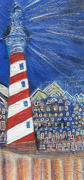 Lighthouse Painting - The Little Town Gets Lit by Anne-Elizabeth Whiteway