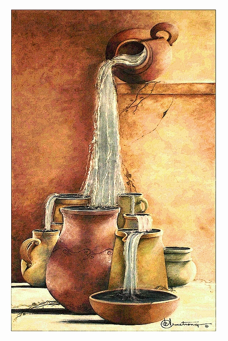 Pottery Painting - The Living Water by Denise Armstrong