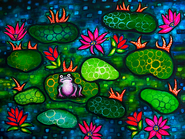Frog Painting - The Lonesome Frog by Brenda Higginson