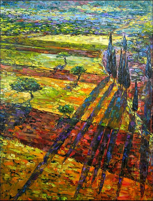 Landscape Painting - The Long Shadows by Keren Gorzhaltsan