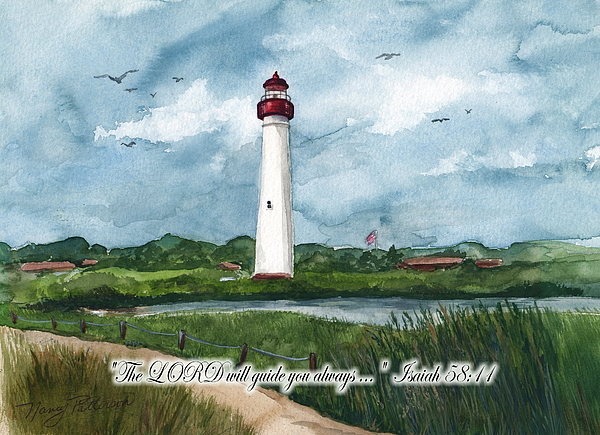 Cape May Lighthouse Painting - The Lord Guides  by Nancy Patterson