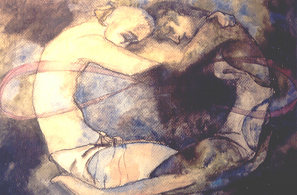 Lovers Painting - The Lovers by Erika Brown